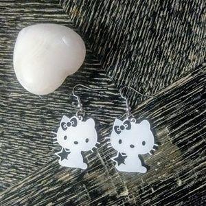 Jewelry - NWT WHITE METAL KITTY EARRINGS
